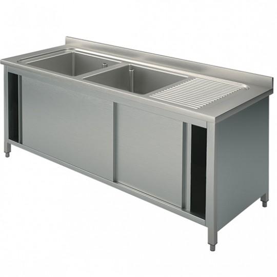 Plonge sur armoire, profondeur de 600 mm, 2 bacs + égouttoir à droite, avec portes coulissantes, largeur de 1400 à 1800 mm