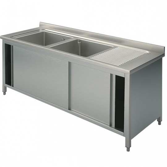 Plonge sur armoire, profondeur de 600 mm, 2 bacs + égouttoir à droite, avec portes coulissantes, largeur de 1400 à 2000 mm