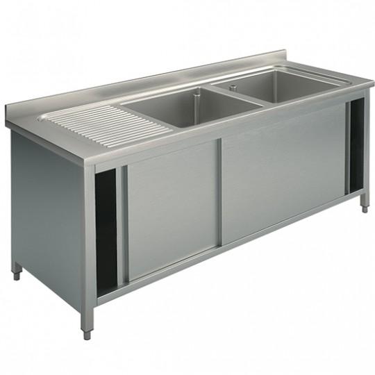 Plonge sur armoire, profondeur de 700 mm, 2 bacs égouttoir à gauche, avec portes coulissantes, largeur de 1400 à 2000 mm