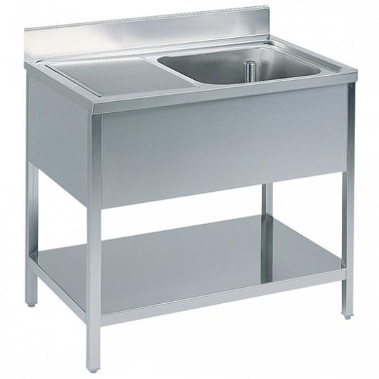 Table de travail avec bac à droite, profondeur de 600 mm, avec dosseret, avec étagère, largeur de 1000 à 2000 mm