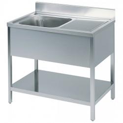 Table de travail avec bac à gauche, profondeur de 600 mm, avec dosseret, avec étagère, largeur de 1000 à 2000 mm
