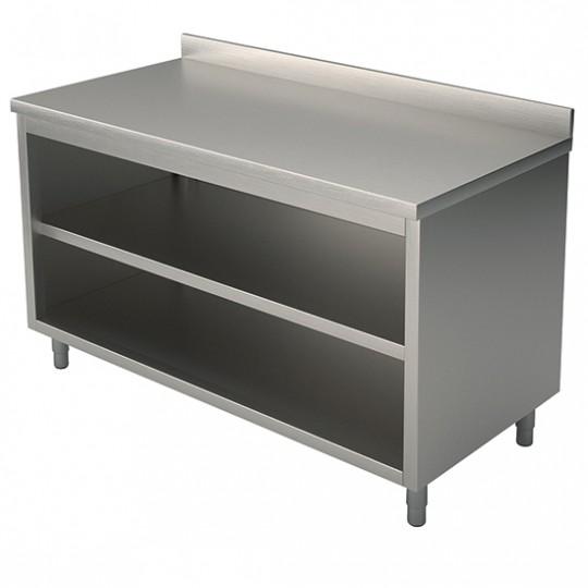 Table armoire basse neutre, profondeur de 600 mm, ouverte, avec dosseret, largeur de 600 à 2400 mm