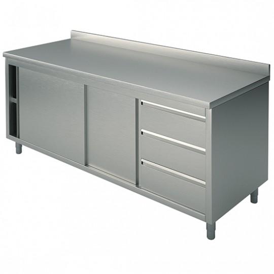 Table armoire basse neutre, profondeur de 600 mm, avec tiroir à droite, avec dosseret, largeur de 1200 à 2200 mm
