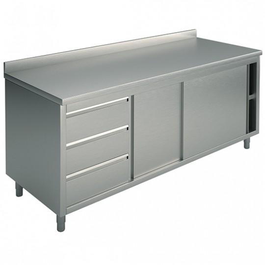 Table armoire basse neutre, profondeur de 600 mm, avec tiroir à gauche, avec dosseret, largeur de 1200 à 2200 mm