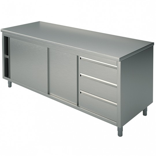 Table armoire basse neutre, profondeur de 600 mm, avec tiroir à droite, sans dosseret, largeur de 1200 à 2200 mm
