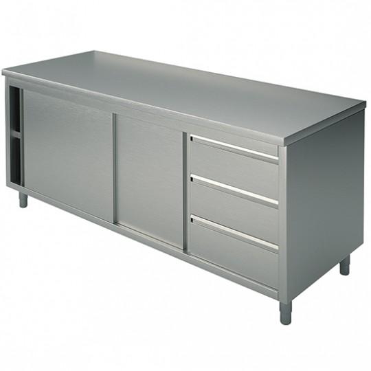 Table armoire basse neutre, profondeur de 700 mm, avec tiroir à droite, sans dosseret, largeur de 1200 à 2400 mm