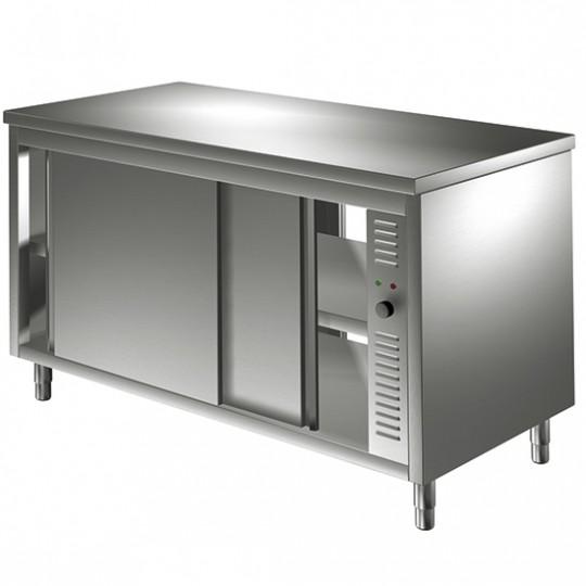 Table armoire basse chauffante traversante, profondeur de 600 mm, avec portes coulissantes, largeur de 1000 à 2200 mm