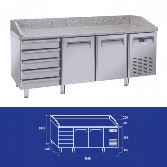 Table à pizzas réfrigérée en inox,  5 tiroirs, 2 et 3 portes pour grilles 60 x 40 cm, +2°C/+8°C, plateau en granit avec...