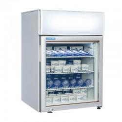 Armoire de congélation, 1 porte vitrée, enseigne lumineuse, 88 litres, 3 étagères, -15°/-20°C